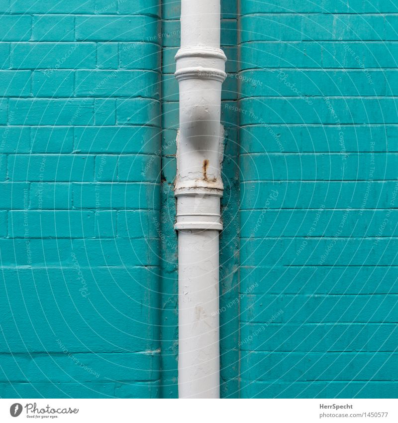 Turquoise downpipe London Downtown Manmade structures Building Wall (barrier) Wall (building) Facade Eaves Town White Downspout Water pipe Brick wall