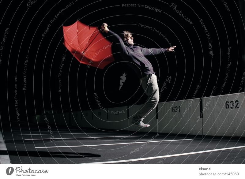 ::LOST:IN:SPACE:: Weightlessness Hover Night Dark Human being Man Sunshade Umbrella Umbrellas & Shades Red Concentrate Playing Funsport elson