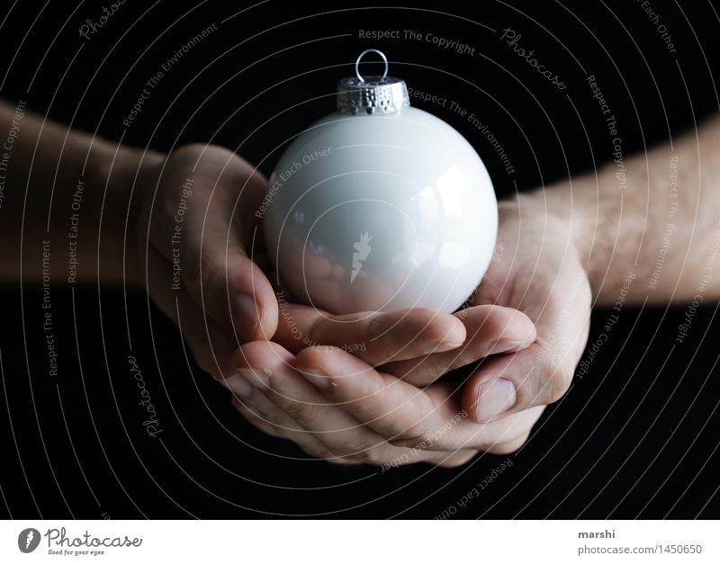 Feast of Love Human being Emotions Moody Joy Anticipation Sphere Decoration Christmas & Advent White Christmas decoration Glitter Ball To hold on Anti-Christmas