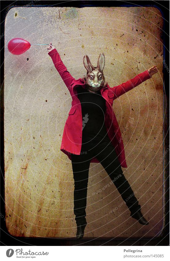 Human being Red Animal Jump Flying Balloon Mask Hare & Rabbit & Bunny Coat Mammal Dress up Easter Bunny