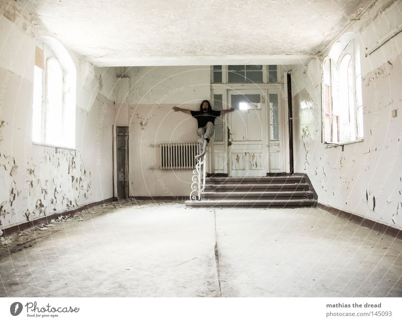 Old White Beautiful Loneliness Calm Window Wall (building) Lanes & trails Legs Feet Line Bright Door Room Dirty Stairs