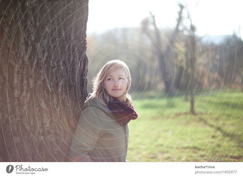 Autumn sun . Relaxation Feminine Young woman Youth (Young adults) 1 Human being 18 - 30 years Adults Nature Beautiful weather Tree Park Jacket Scarf Blonde