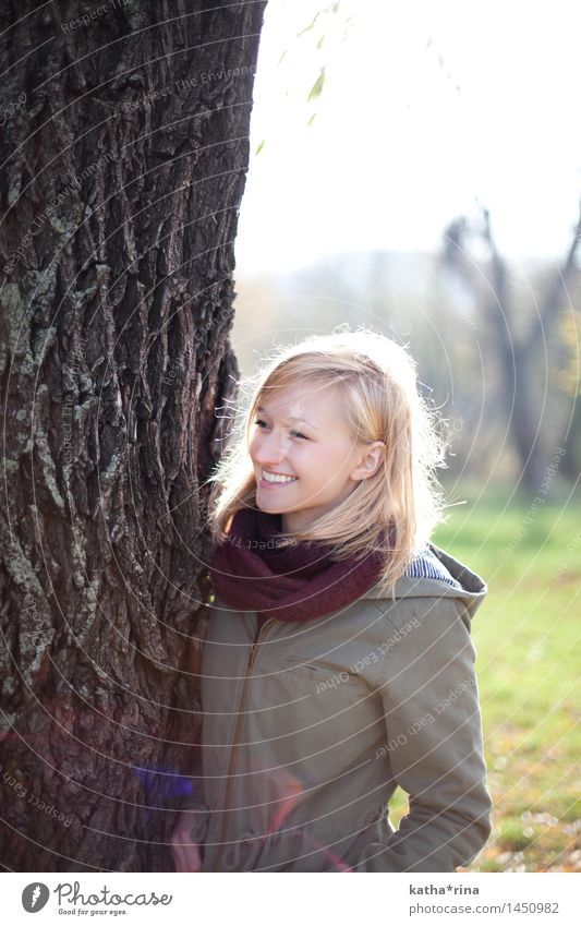 Autumn sun . Human being Feminine Young woman Youth (Young adults) 1 18 - 30 years Adults Beautiful weather Tree Jena Park Smiling Blonde Happiness Happy