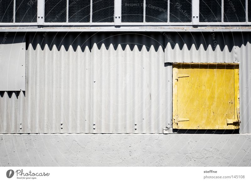 yellow tinge Wall (building) Warehouse Industrial Photography Industry Factory hall Door Yellow Gray Tin Corrugated sheet iron Shadow