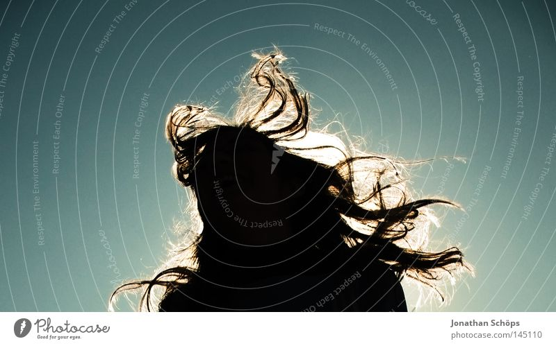 Silhouette of a young woman with long flowing hair in front of the sky Joy Hair and hairstyles Life Sun Woman Adults Wind Gale Movement Jump Long Happy