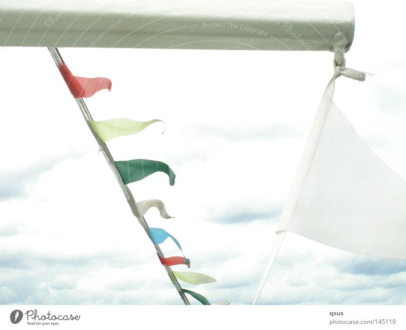 ahoy Flag Red Blue Green Yellow White Judder Sky Clouds Covered Bad weather Watercraft Wind Vacation & Travel Overexposure Light Bright Leisure and hobbies Joy
