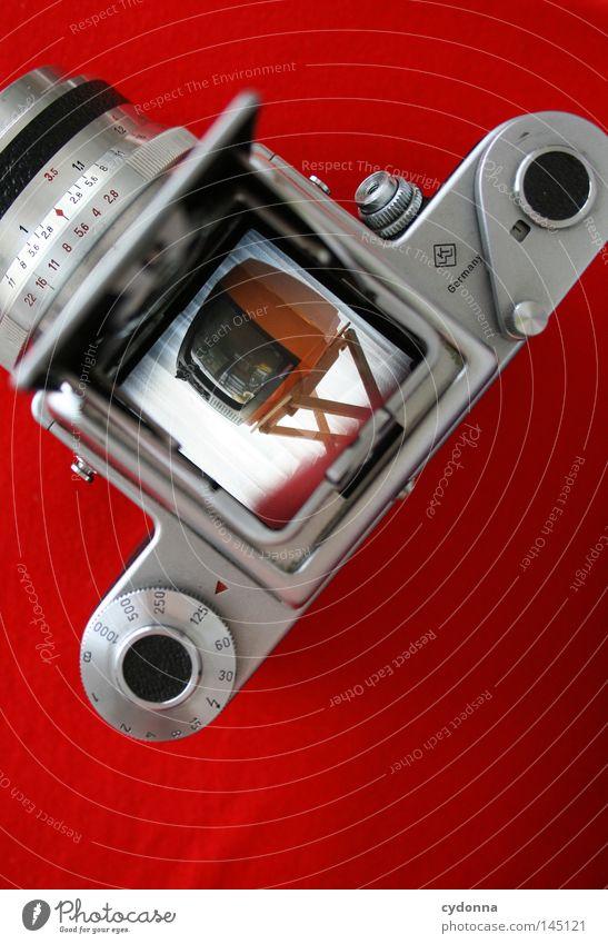 Red Orange Photography Time Planning Retro Technology TV set Camera Analog Film Attempt Motive Digital photography Viewfinder Medium format