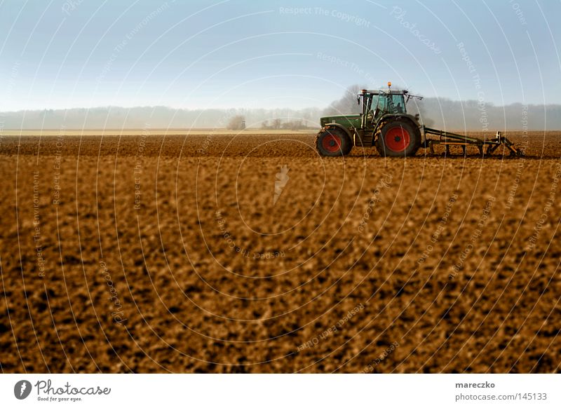Nature Blue Red Meadow Landscape Brown Work and employment Field Gastronomy Agriculture Farm Beautiful weather Farmer Machinery Vehicle Economy
