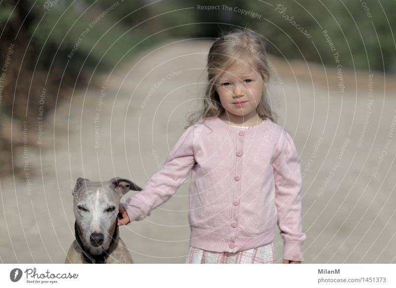 Wait a minute Child Girl Infancy 1 Human being 3 - 8 years Dog Animal Observe Authentic Blonde Together Curiosity Positive Moody Brave Acceptance Trust