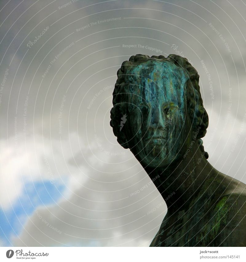 Charm of the patina Face Sculpture Storm clouds Bad weather Monument Metal Rust Old Historic Moody Sadness Perturbed Bizarre Surrealism Transience Change Patina