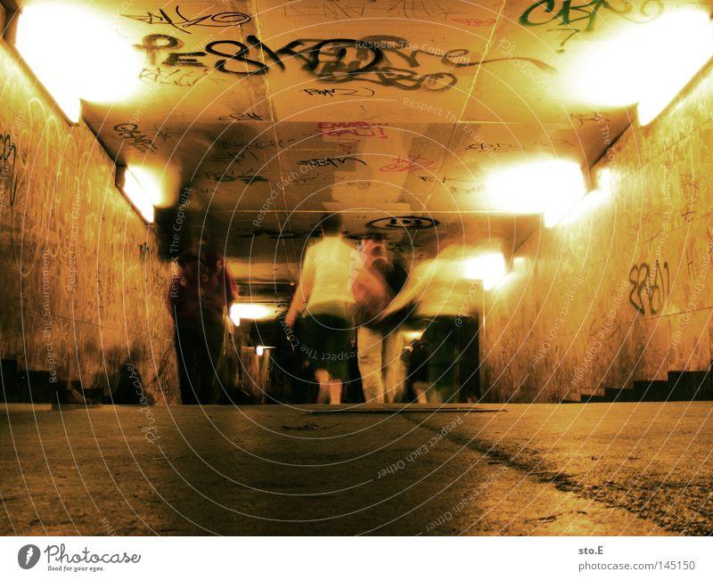 greifswalder str. Passage Occur Pedestrian Human being Going Tunnel Concrete Gloomy Pattern Light Illuminate Wall (building) Mural painting Flashy Dark Blur