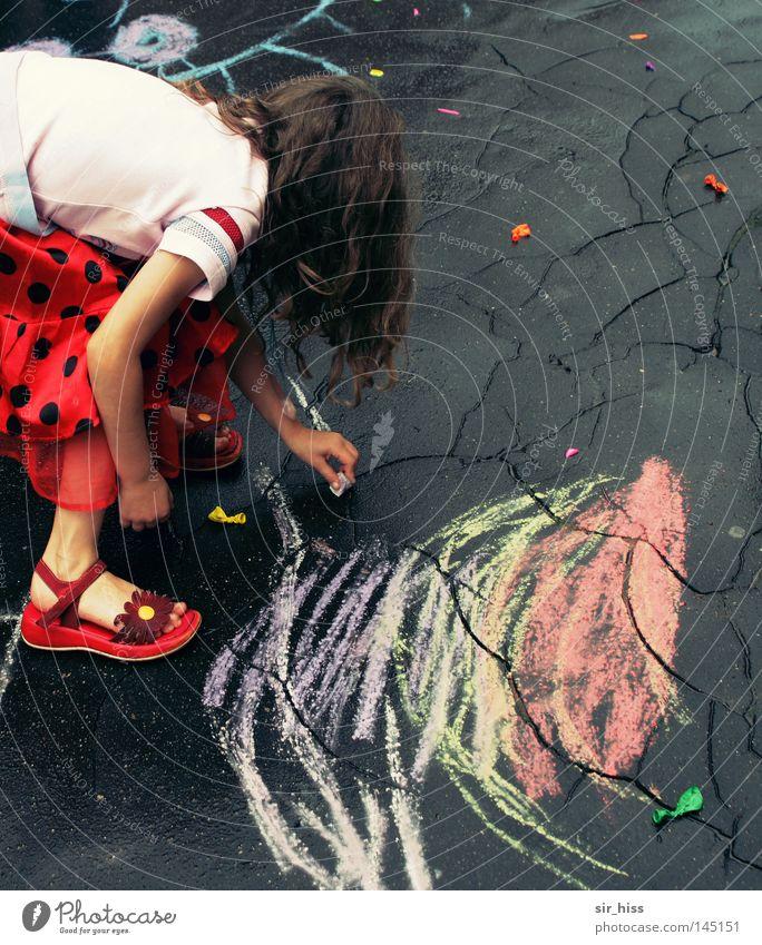 Girl Joy Street Autumn Above Rain Line Balloon Asphalt Transience Draw Child Crack & Rip & Tear Chalk Children's game Burst