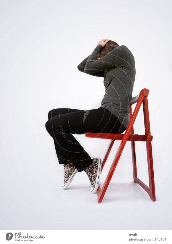 Woman Red Black Loneliness Dark Bright Chair Hide Chucks Frustration