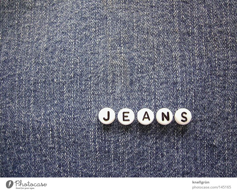 White Blue Black Jeans Round Characters Letters (alphabet) Things Cloth Obscure Denim Pearl Word Cotton