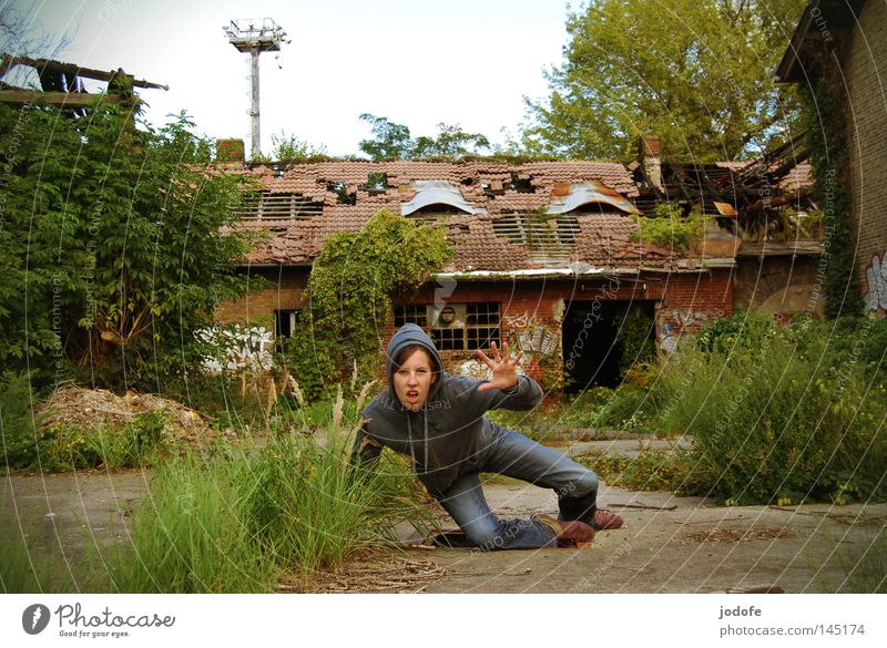 I'm gonna get you. Human being Living thing Woman House (Residential Structure) Building Shed Broken Derelict Loneliness Shabby Harmful Nature Farm Barn Growth