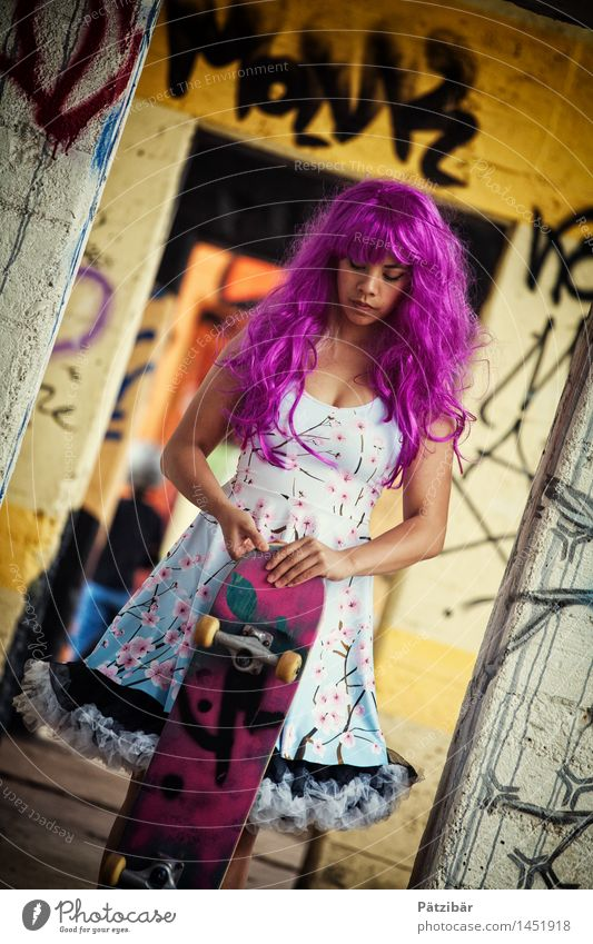 Skate Punk Style Exotic Entertainment Event Feminine Artist Stage Industrial plant Factory Ruin Window Door Hair and hairstyles Wig Skateboard Graffiti