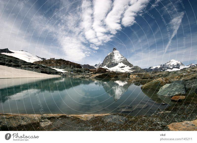 Mountain Lake Nature Zermatt Matterhorn Glacier Switzerland Swiss Alps Blue Green Water Sky
