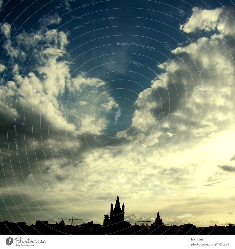 Sky City Clouds House (Residential Structure) Architecture Horizon High-rise Roof Silhouette Point Skyline Cologne Dusk Gothic period City hall Church spire