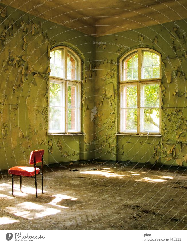 Green Red Window Room Architecture Places Chair Floor covering Transience Painting (action, work) Derelict Decline Historic Past Redecorate Parquet floor