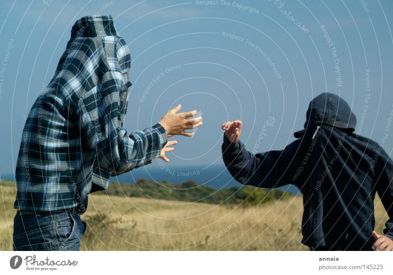 Joy Playing Head Funny Leisure and hobbies Fight Hooded (clothing) Partially visible Camouflage Headless Attraction