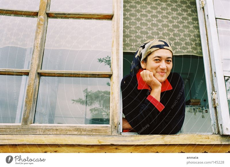 Woman Joy Face Calm Window Laughter Contentment Vantage point Asia Trust Serene Discover Window pane Appearance Sympathy