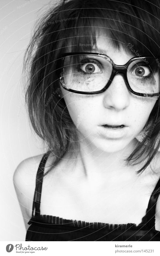 I see something you can't see, and that's reality. Black & white photo Hair and hairstyles Eyeglasses Dress Make-up Looking Mouth Amazed Inconceivable Monstrous