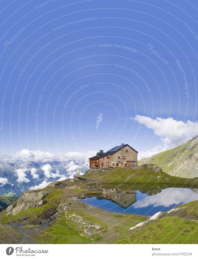 quite high up House (Residential Structure) Alpine hut Lake Reflection Clouds Eastern Tyrol Hiking Leisure and hobbies Austria Mountaineering Summer Europe Hut