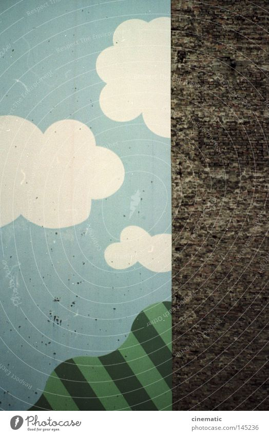 Clouds House (Residential Structure) Stone Wall (barrier) Stripe Image Illustration Ask Backyard Converse Playground Old building Kreuzberg When