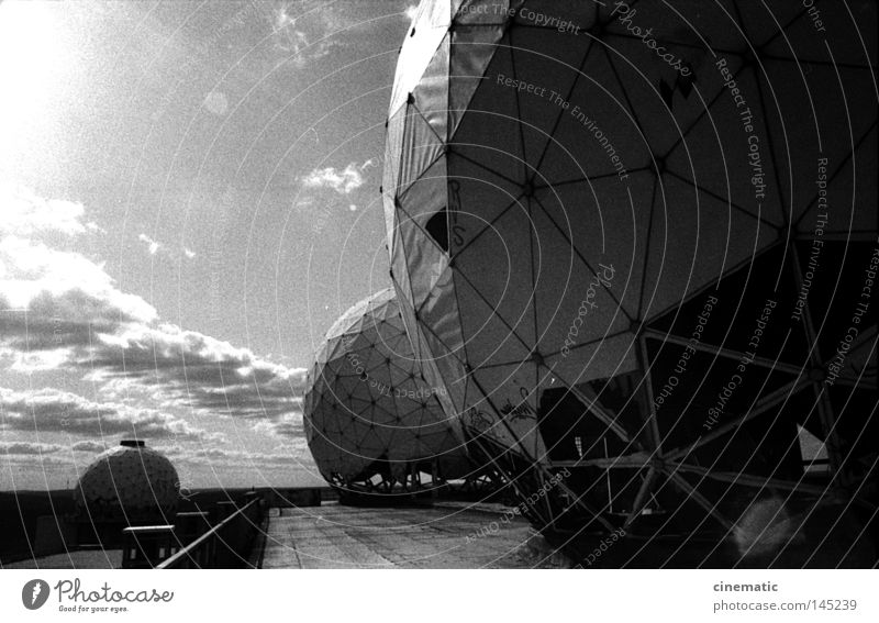 Spaceballs I Grunewald USA Radar station Ball Sphere Noise Moody Testing & Control Eerie Roof Wind Derelict Loneliness Annihilate Black & white photo