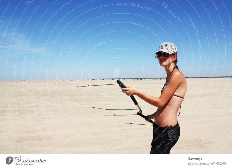 Woman Beautiful Sky Blue Summer Joy Beach Vacation & Travel Black Sports Feminine Sand Warmth Healthy Adults