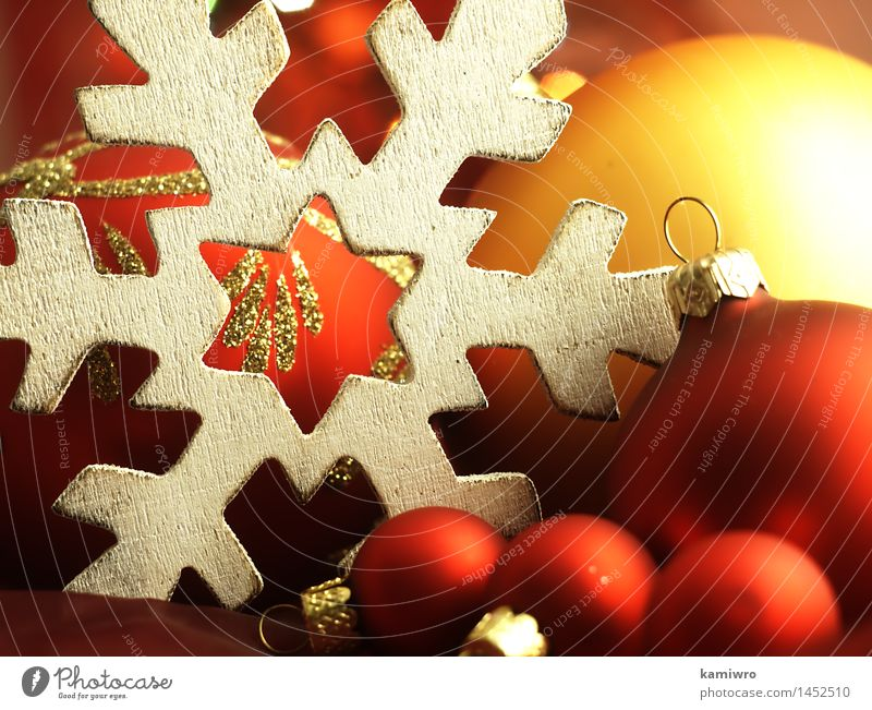 Big wooden snowflake and Christmas balls. Christmas & Advent Green Beautiful Colour Red Winter Snow Happy Feasts & Celebrations Bright Design Glittering