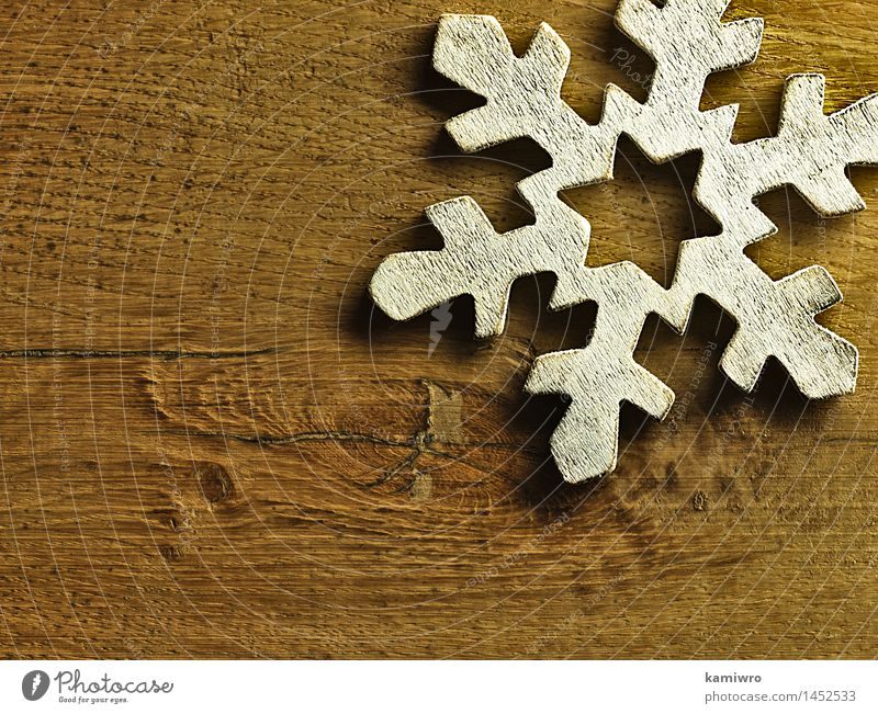 Big wooden snowflake. Design Happy Beautiful Winter Snow Decoration Feasts & Celebrations Christmas & Advent Nature Wood Ornament Old Bright New Retro White