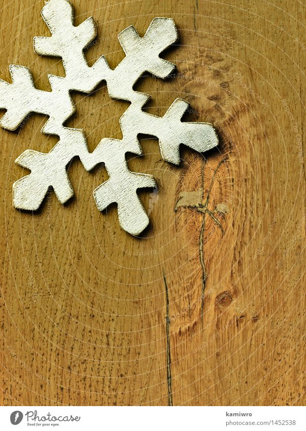 Big wooden snowflake. Nature Old Christmas & Advent Beautiful White Winter Snow Wood Happy Feasts & Celebrations Bright Design Decoration Photography Retro New