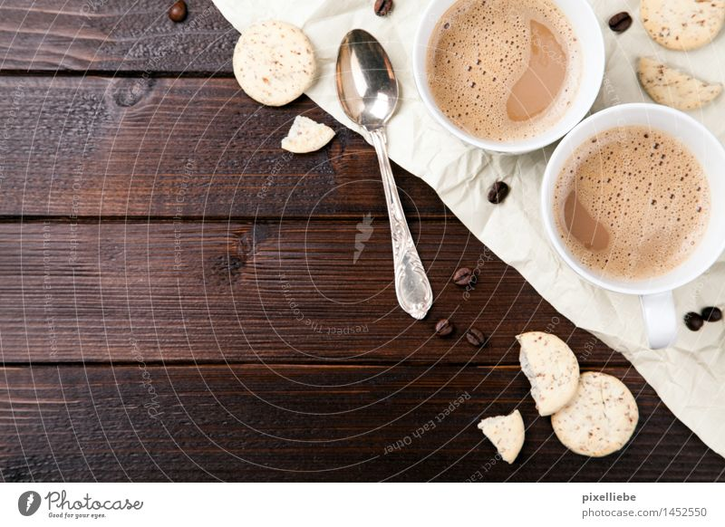 Coffee with biscuits Food Dough Baked goods Candy Nutrition To have a coffee Beverage Hot drink Hot Chocolate Latte macchiato Cup Spoon Lifestyle Healthy Eating