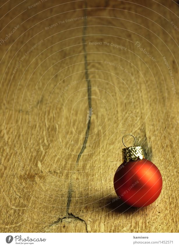 Red Christmas bauble. Design Happy Winter Decoration Table Feasts & Celebrations Christmas & Advent Nature Plant Wood Ornament Old Dark Natural New Brown