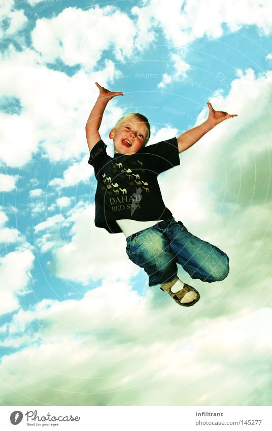 I can fly Boy (child) Child Jump Flying Upward Sky Clouds Hop High spirits Wild Joy Tall Above Funsport Aviation