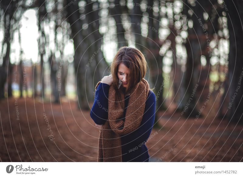 case Feminine Young woman Youth (Young adults) 1 Human being 18 - 30 years Adults Autumn Forest Dark Cold Cuddly Brown Colour photo Exterior shot Day