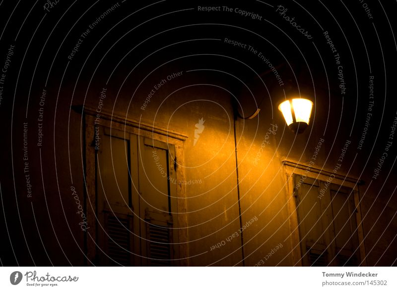 Old House (Residential Structure) Loneliness Street Lamp Dark Autumn Wall (building) Window Lanes & trails Building Lighting Fear Fog Facade