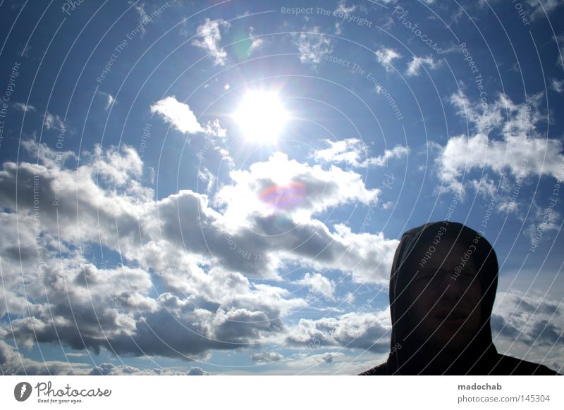 Human being Man Nature Beautiful Sky Sun Summer Face Black Clouds Far-off places Relaxation Head Warmth Bright Weather