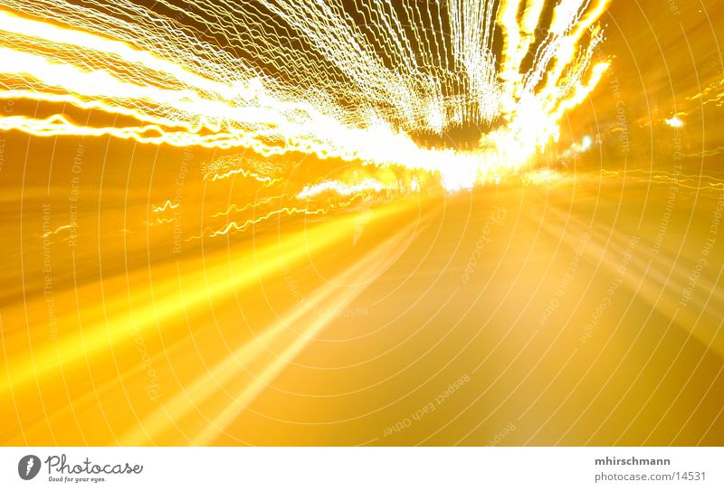 the speed of the night Night Light Stripe Yellow Mobility Driving Long exposure Bright