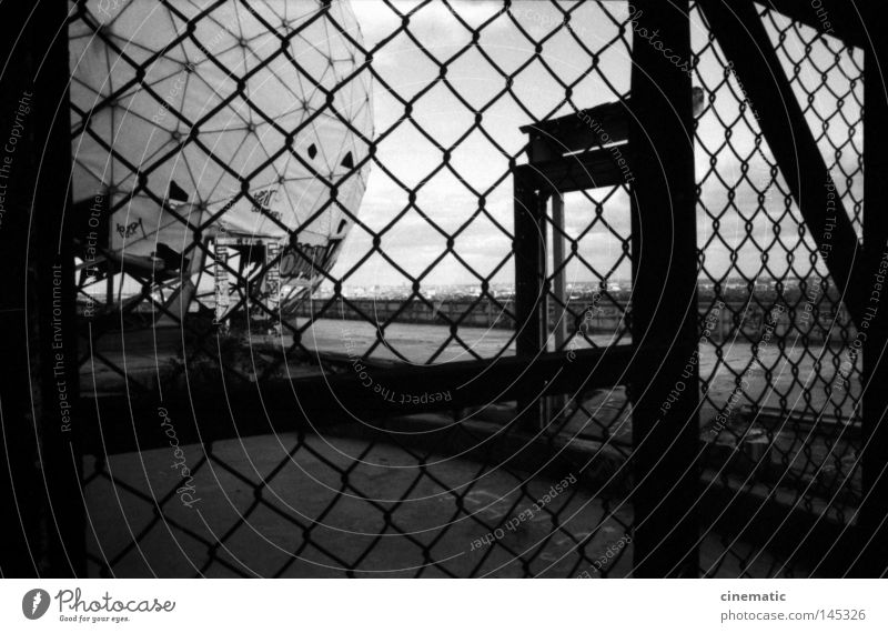 behind bars Fence Grating Door Grunewald USA Radar station Sphere Sky Noise Moody Testing & Control Eerie Roof Wind Derelict Loneliness Annihilate