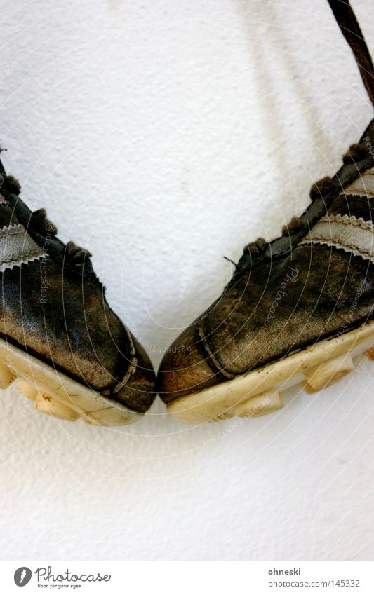 Old White Black Sports Soccer In pairs Leather Section of image Partially visible Hang up Object photography Ball sports Shoelace Burl Football boots