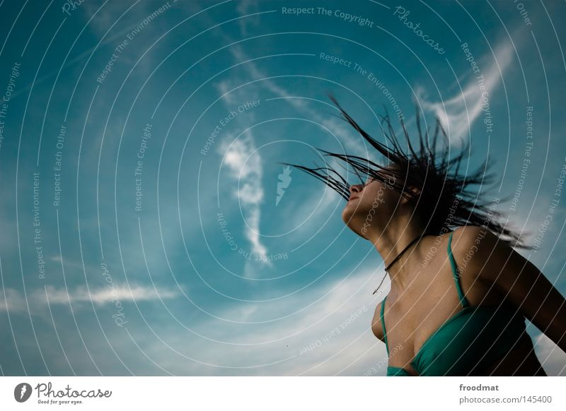 Woman Sky Blue Water Beautiful Summer Joy Clouds Face Eroticism Hair and hairstyles Style Line Wind Wet Electricity