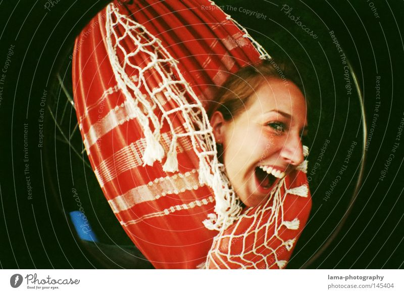 THE BRIGHT SIDE OF LIFE Joy Relaxation Woman Hammock Packaged Cover up Crazy Happiness Playing Leisure and hobbies Beach Grimace Fisheye Round Snapshot