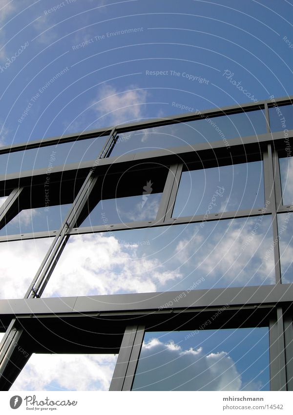 Human being Sky Blue Clouds Window Building Architecture Design Mirror Frame Window frame