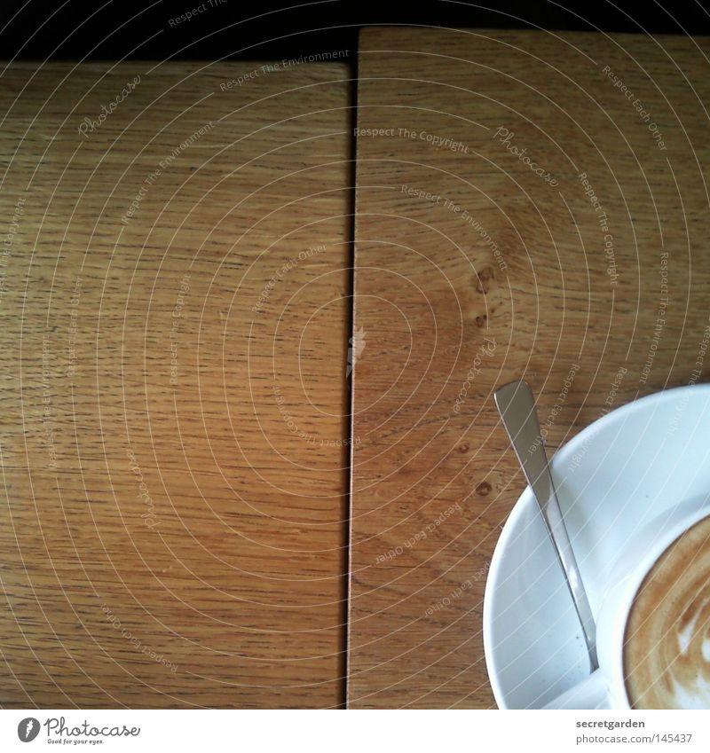 Monkey? Morning Table Wood Latte macchiato Café au lait Corner 2 Spoon White Black Emotions Coffee Alert Oversleep Deferred Pattern Gastronomy Flat (apartment)