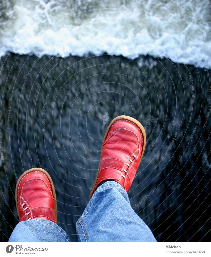 Jump! Edge Wall (barrier) Footwear Exceed Red Anger Aggravation Water River Stone Rock Bridge Jeans changed sides red shoes Scaredy-cat spring´doch Sadness