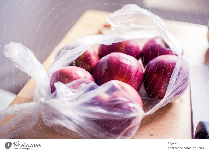 Red Apples Food Fruit Dessert Candy Nutrition Vegetarian diet Finger food Healthy Eating Natural Sweet Table Paper bag Kitchen Colour photo Interior shot