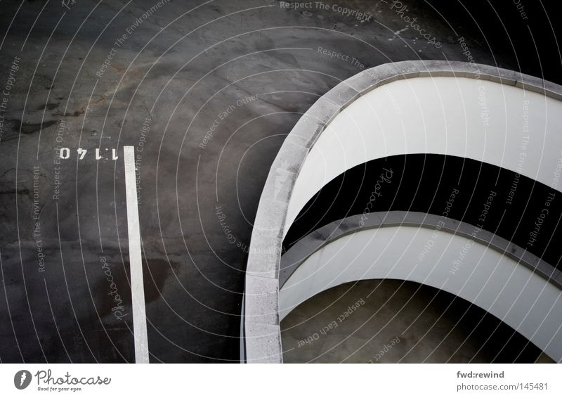 line in the landscape Parking garage Exhaust gas Town Wait Stop Black Gray Concrete Tar Asphalt Curve Bend Curved Highway ramp (exit) Spiral End Gloomy Cologne