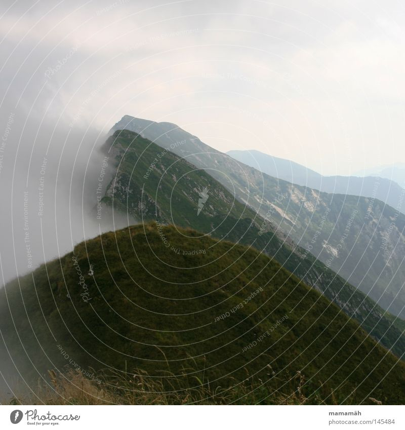 Sky Landscape Clouds Dark Cold Mountain Grass Weather Fear Fog Hiking Wind Vantage point Italy Beautiful weather Peak